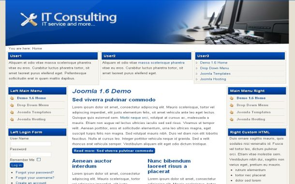 Free Tech Consulting Blue Joomla Theme Template