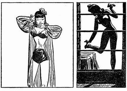 Comic Frame of Miss Lace in suggestive pjs and then on outline of her at the window changing