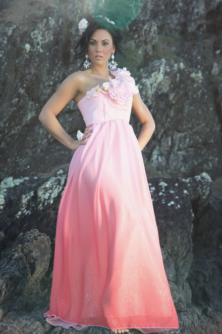 Peach Ombre embellished maxi