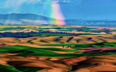 Arcoiris en las praderas - Palouse Hills en Washington