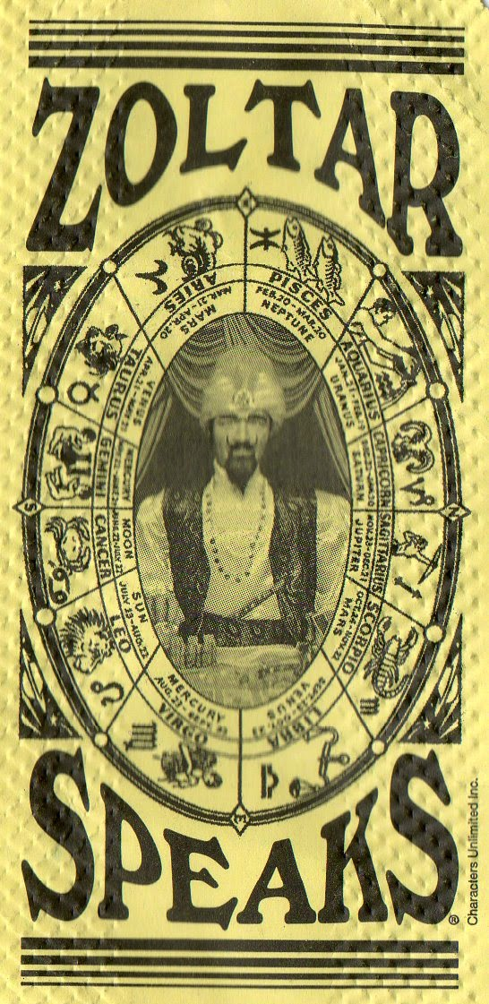 zoltar fortune telling ticket