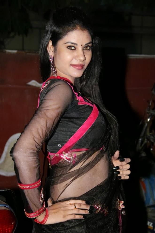 Nivisha in transparent saree