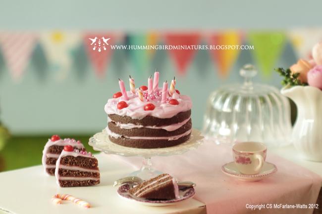 Hummingbird Miniatures Cherry Chocolate Birthday Cake