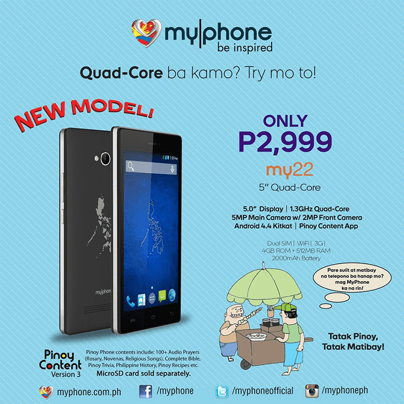 MYPHONE MY22 LAUNCED! 5 INCH QUAD CORE FOR 2999 PESOS!
