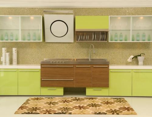 Green brown colors kitchen cabinets ideas for Green and brown kitchen ideas