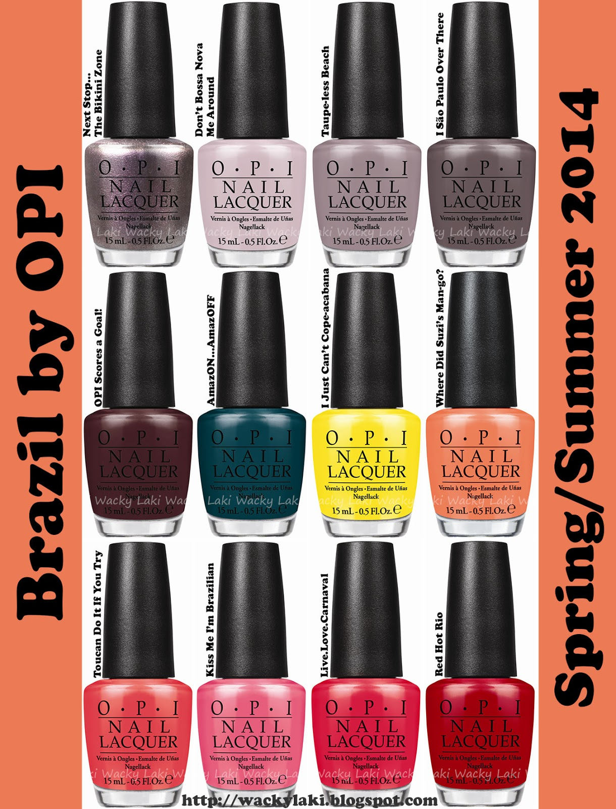 Brazil by OPI includes the following shades in both nail lacquer and ...