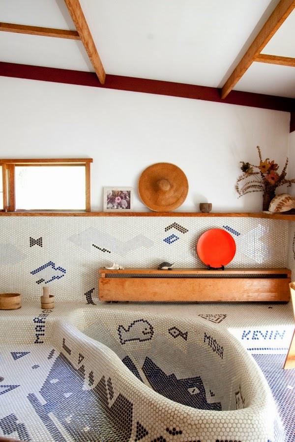 Bañeras en casa - Bañera de obra hecha con mosaicos