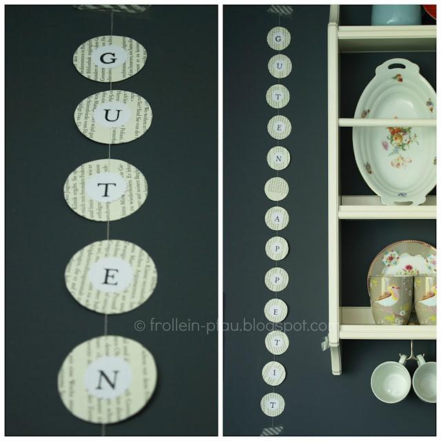 Girlande Buchseiten DIY Upcycling Alltagsheld Creadienstag Buchstabenstempel