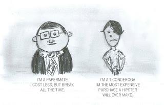 Cartoon mock of PC Mac comericals