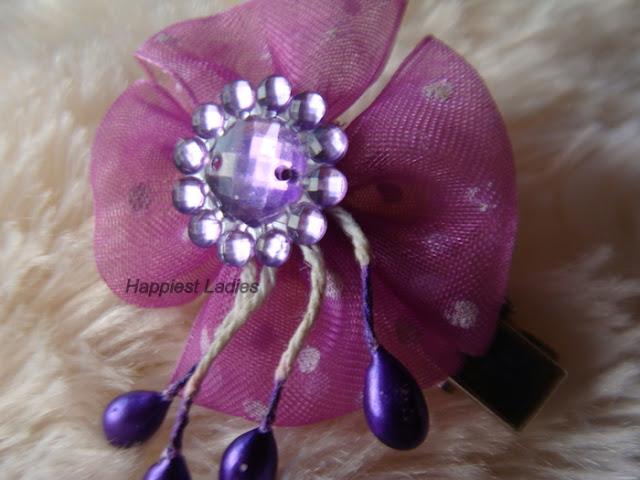Purple Stone Flower hair Clip+baby hair