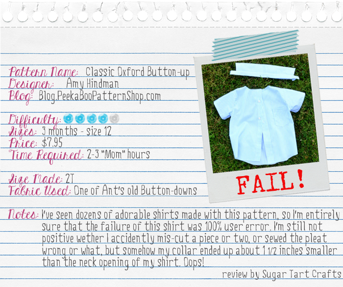 Pattern Review: Basic Oxford Button-up from PeekaBoo Patterns