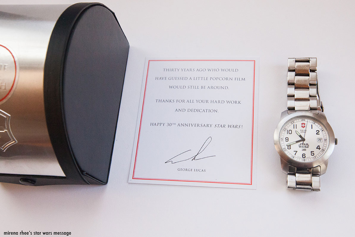 Star Wars 30th anniversary swiss watch I received as a gift from George Lucas while working at Lucasfilm