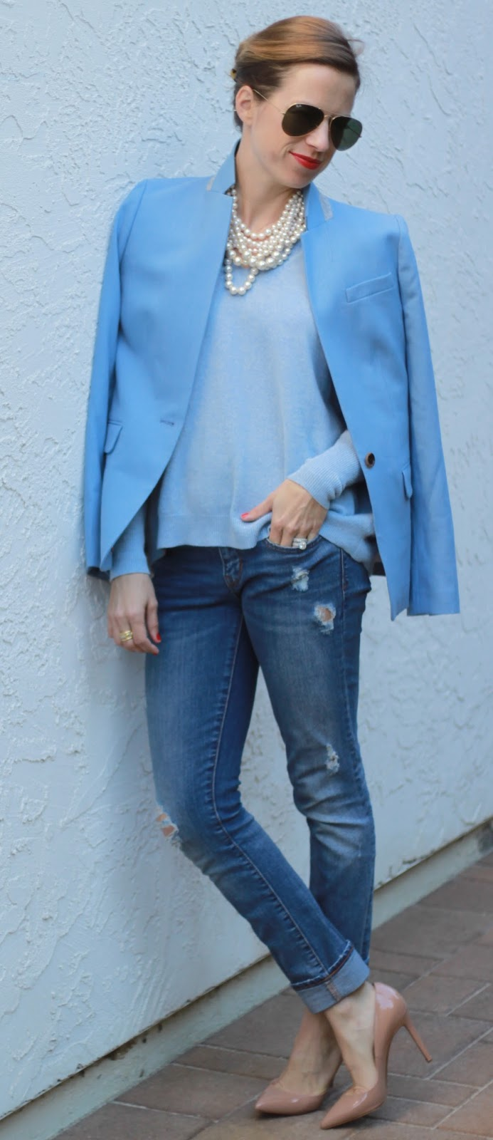 blazer, jeans and heel outfit
