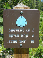 Trail sign near Meiss Family Cabin, Sierra Nevada