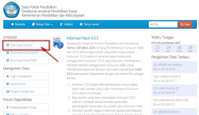 Aplikasi Dapodikdas v.3.04 Installer Download Terbaru 2015