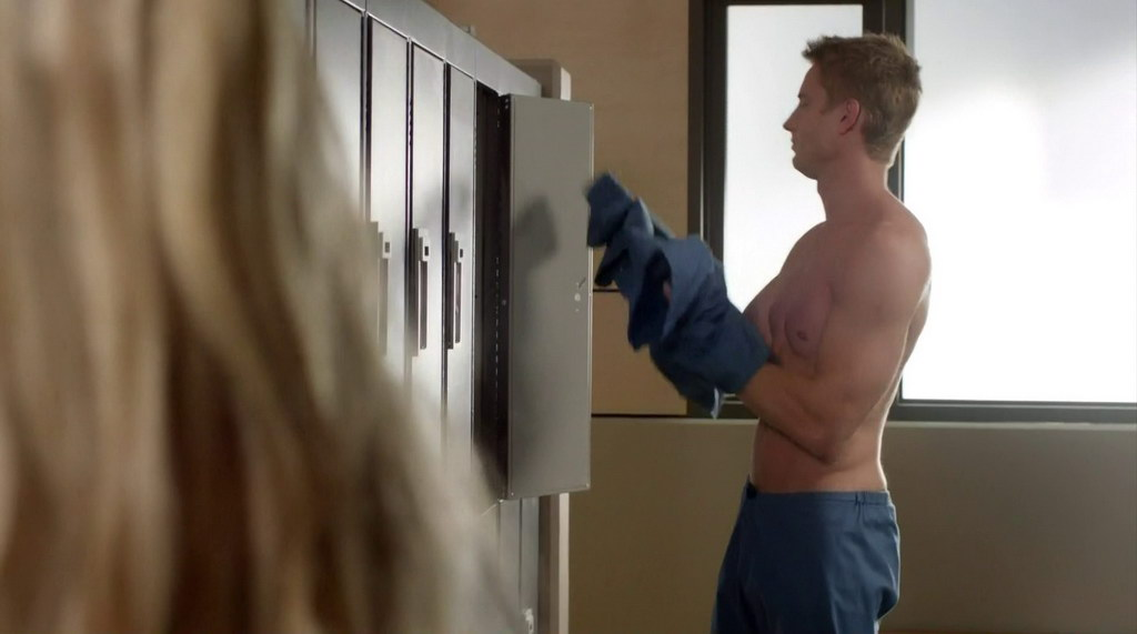 justin hartley is shirtless in the episode emily and the outbreak of
