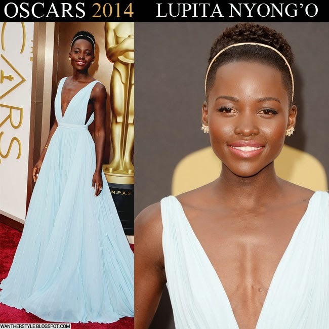 Lupita Nyong'o in light blue Prada gown on the red carpet Oscars 2014 Want Her Style