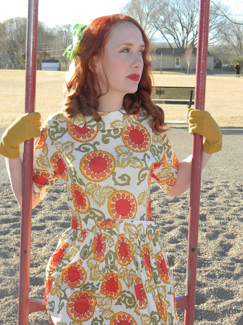 1940s Pornette dress redhead mustard gloves Just Peachy, Darling
