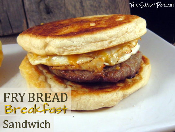 Fry Bread Breakfast Sandwich - made from canned biscuits