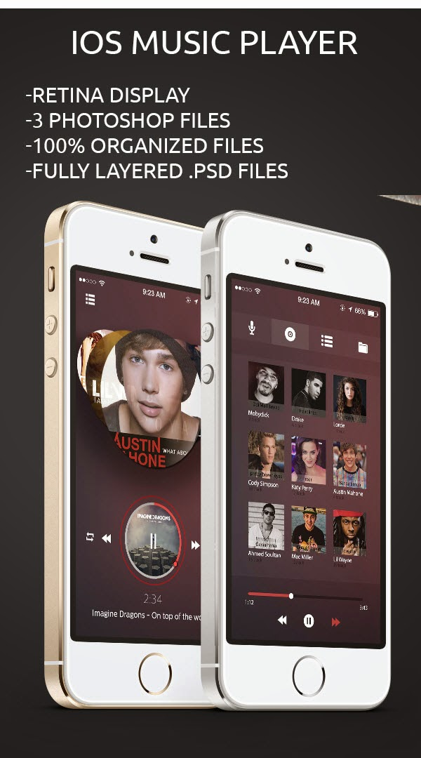 Music Player IOS 7 Free PSD