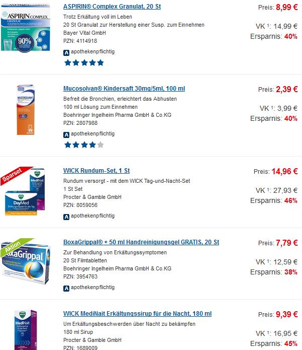 Gutscheine und Rabatte für Erkältungsmittel - Versandapotheken