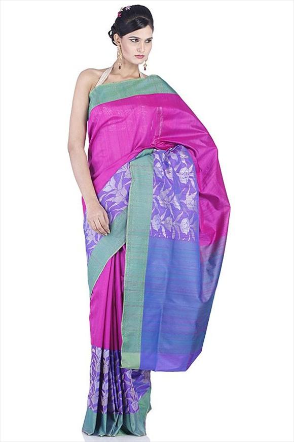 Violet Kattan Silk Banarasi Saree