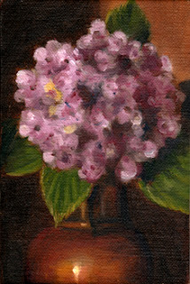 Oil painting of a pink hydrangea flower and part of an Art Deco-style copper vase.