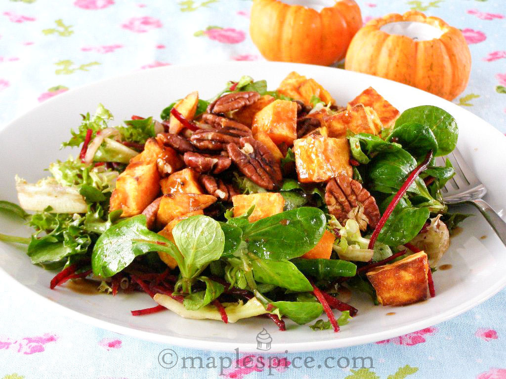 Roasted Sweet Potato and Pecan Salad with Mixed Leaf and Beetroot with ...
