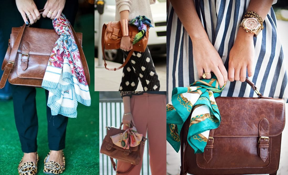 lenço, bolsa, amarrações