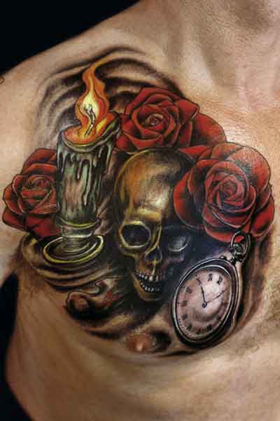 Tattoo Art Various Elements Which Can Occur In A Death Tattoo