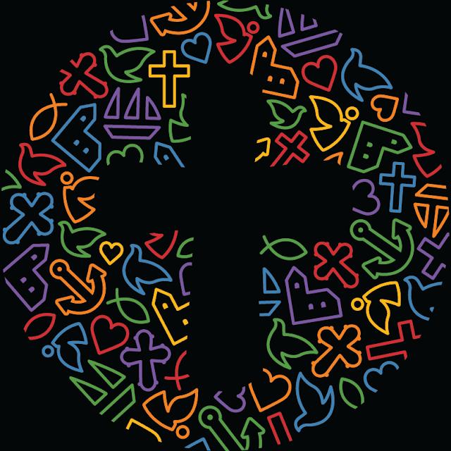Folkekirken logo, 'regnbue', sort baggrund