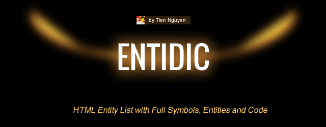 EntiDic - HTML Entity List with Full Symbols, Entities and Code Banner