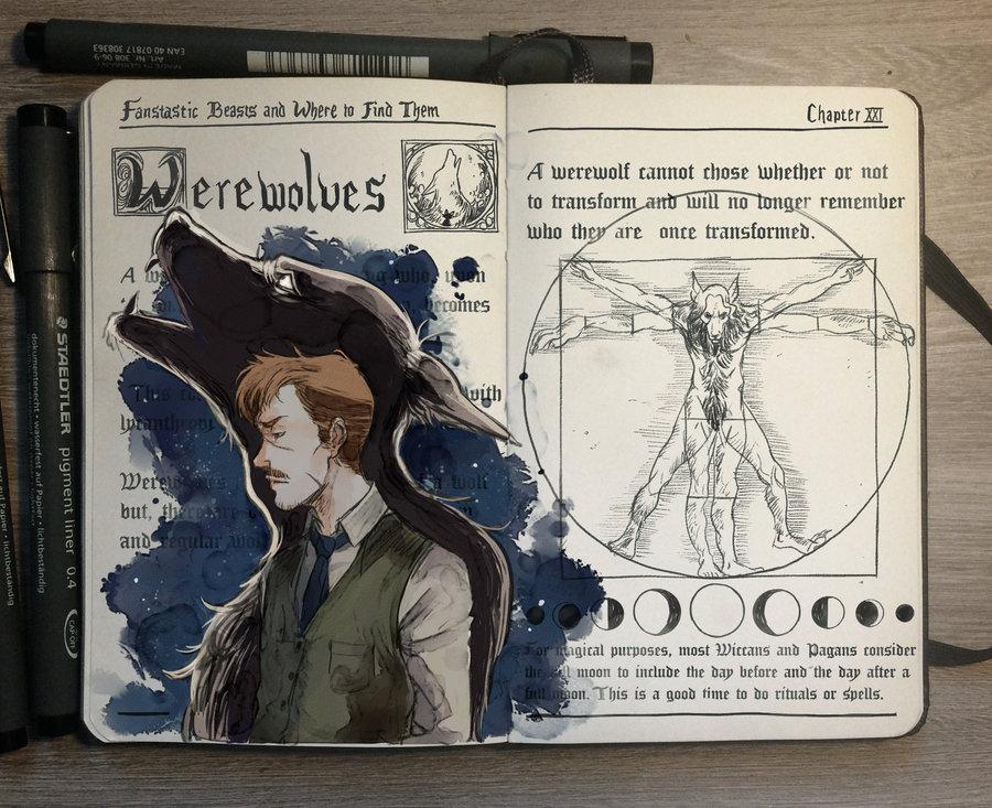 11-Werewolves-Gabriel-Picolo-kun-Harry-Potter-Moleskine-Drawings-of-Wizard-Spells-www-designstack-co