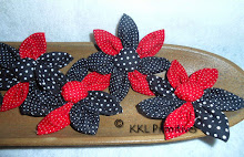 RED BLACK & WHITE POLKA DOT FABRIC FLOWERS