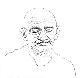 sketch of Mahatma Gandhi portrait