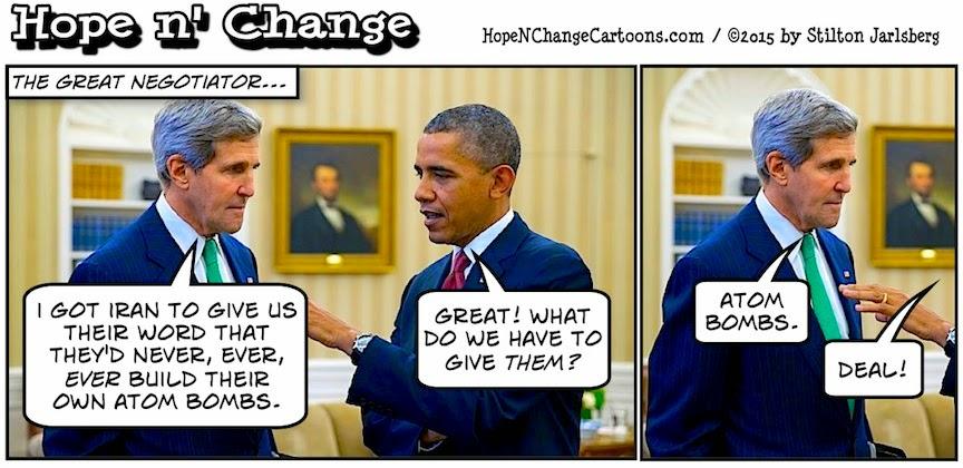 obama, obama jokes, political, humor, cartoon, conservative, hope n' change, hope and change, stilton jarlsberg, iran, israel, kerry, treaty, nukes