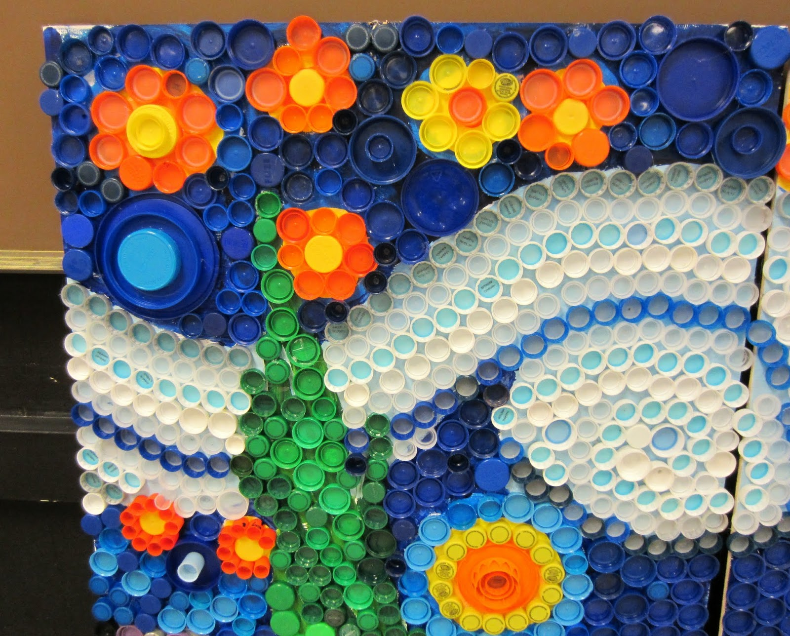 Mrs art teacher every cap counts our bottle cap mural for Bottle cap mural