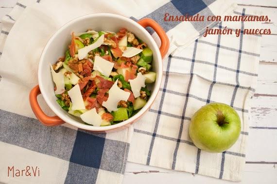 Receta de ensalada con manzana, jamón y nueces