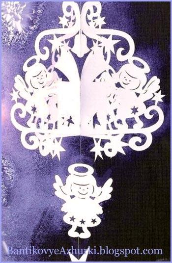 рождественский-ангел-подвеска-из-бумаги