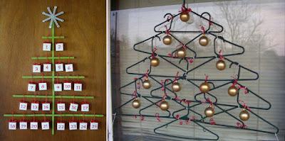 Árvore de natal diferente feita com cabides e palitos de picolé