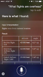 Siri results for What Flights are Overhead