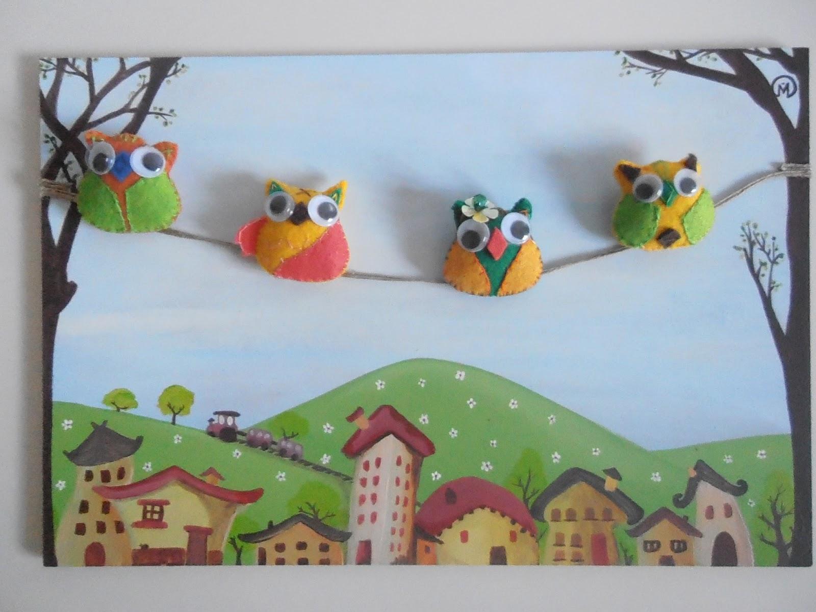 Regalos artesanales espero que os gusten estos cuadros infantiles realizados en acrilico y fieltro - Cuadros artesanales infantiles ...
