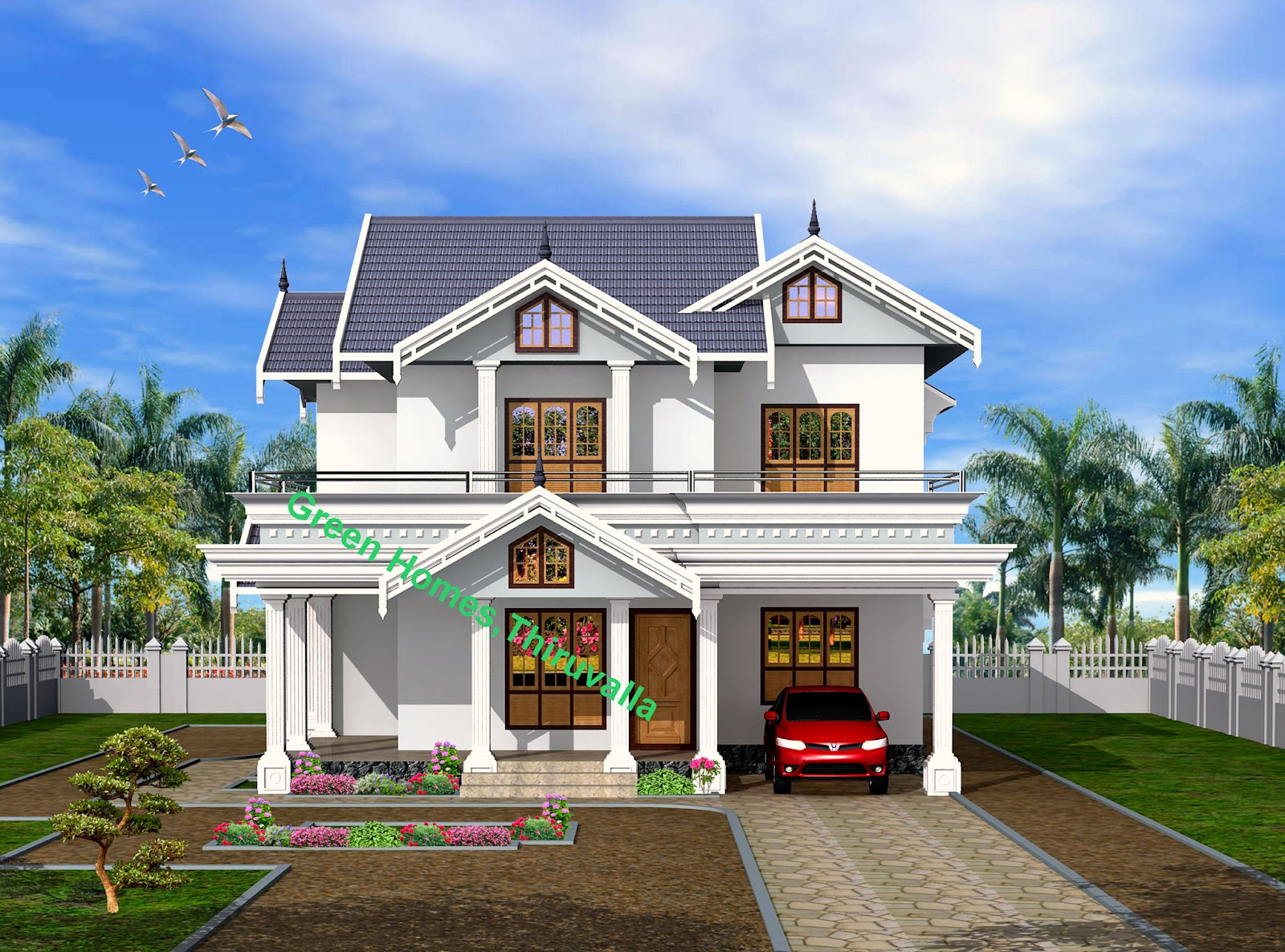 Green homes modern style 2 storyed kerala home 2450 sq feet for Front view of indian house