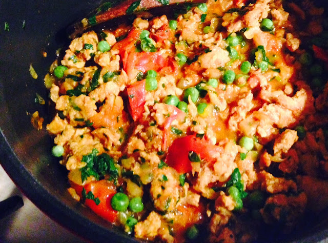 Ground turkey (or beef or lamb) Keema