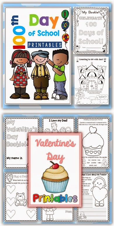 February printables: 100th day and Valentines Day