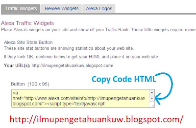Tutorial Memasang Widget Alexa Rank di Blog