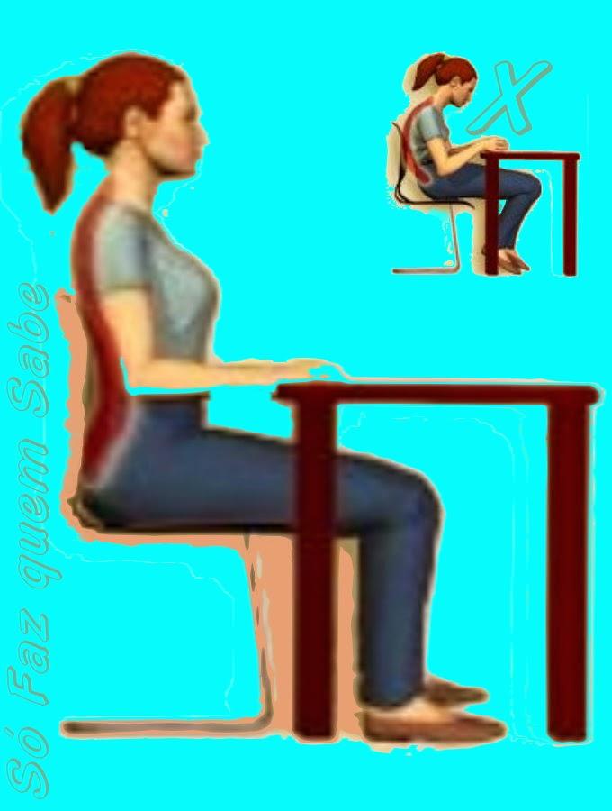 Postura corporal correta ao se sentar: coluna reta.