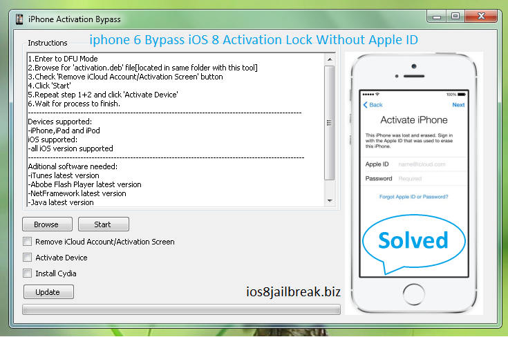 Bypass iCloud Activation Lock iOS 8 &