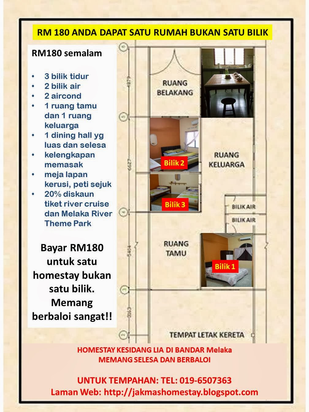 Lokasi Homestay Kesidang Di Bandar Melaka Dan DPuncak