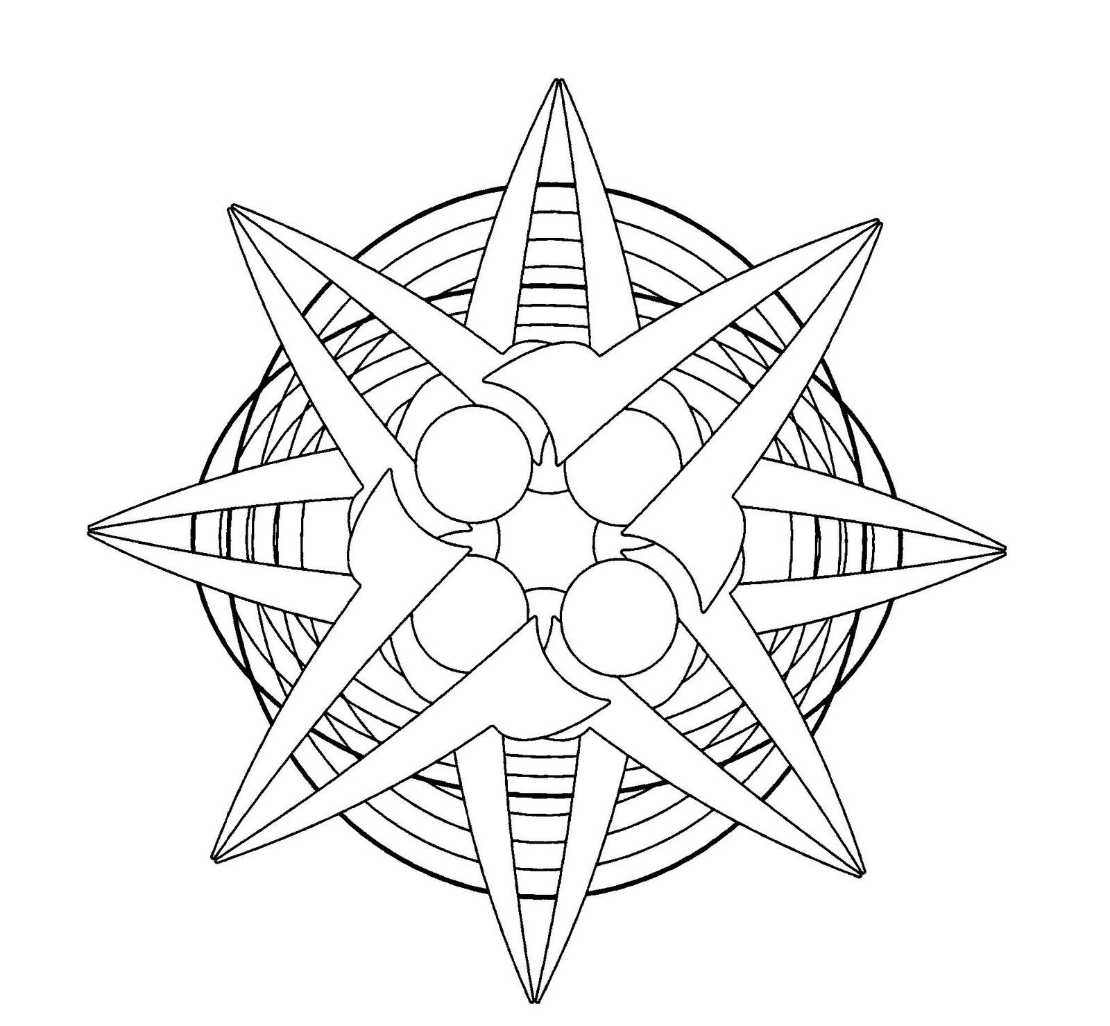 Mandalas Para Pintar: Estrella sobre círculos